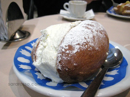 Close-up of a Maritozzo con la panna in Rome, Italy