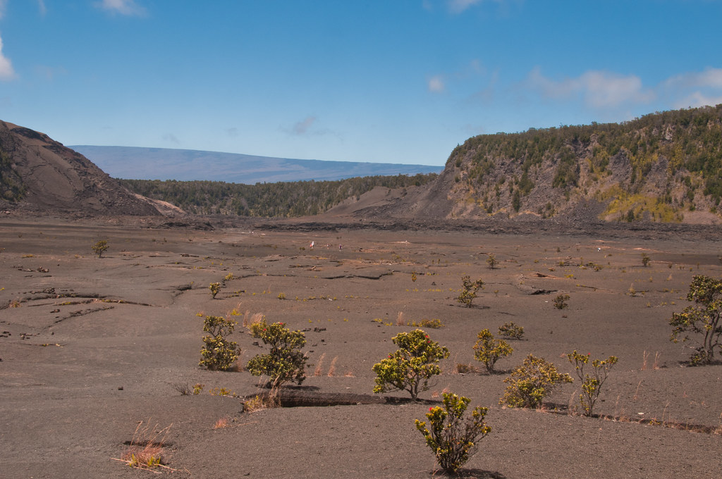 Looking along the length of the Kilauea Iki caldera