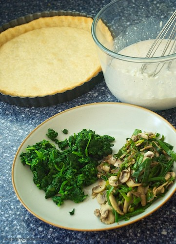 Ingredients: Spinach, Mushroom and Cottage Cheese Quiche