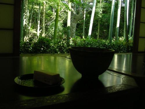 green tea in a green tea room