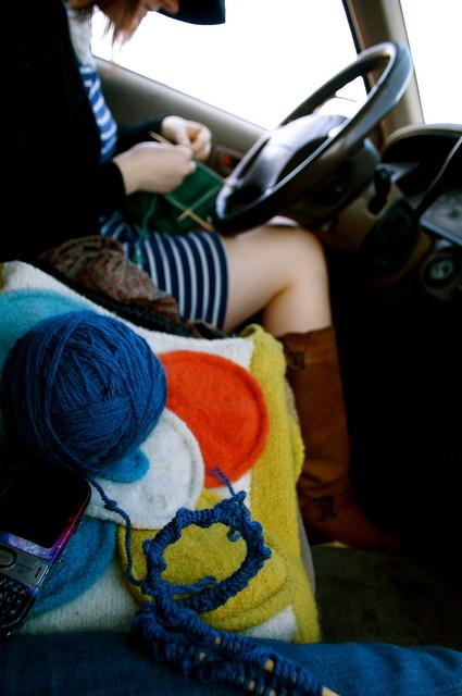 waiting and knitting at the airport