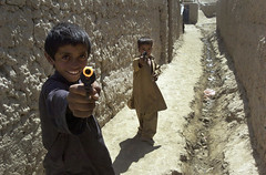 Boys Play with Toy Guns in Bagram, Afghanistan