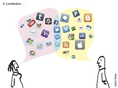 Two people (cartoons) with twitter and other icons in speach bubbles