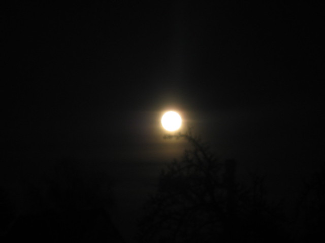 Supermoon above the village