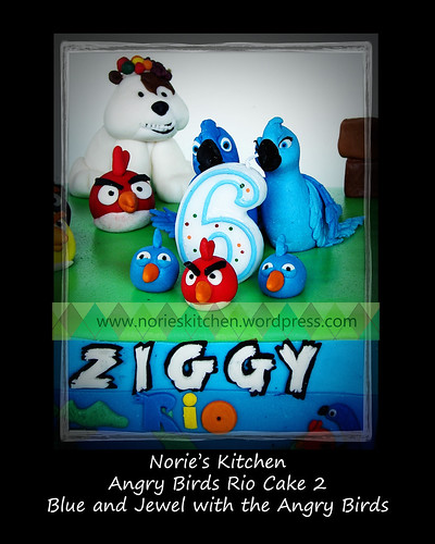 Norie's Kitchen - Angry Birds Rio Cake 2 - Blue and Jewel with the Angry Birds