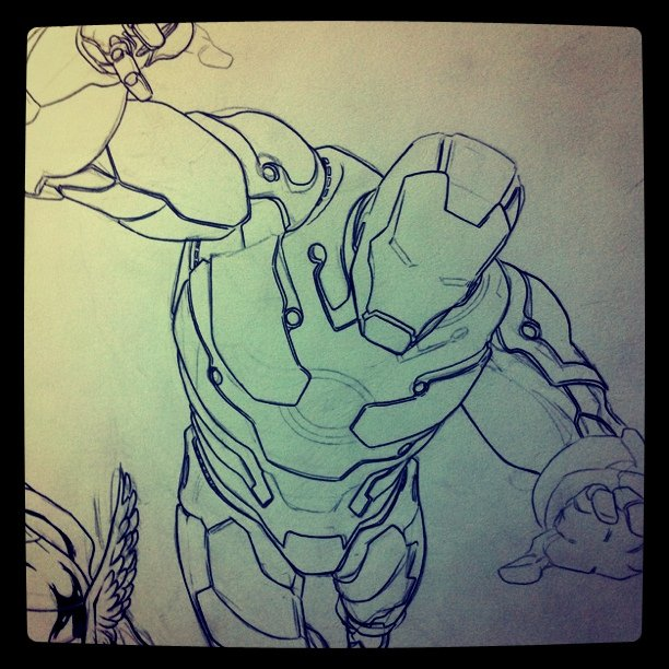 Inking #Ironman - almost done - #Avengers #Comics #Marvel