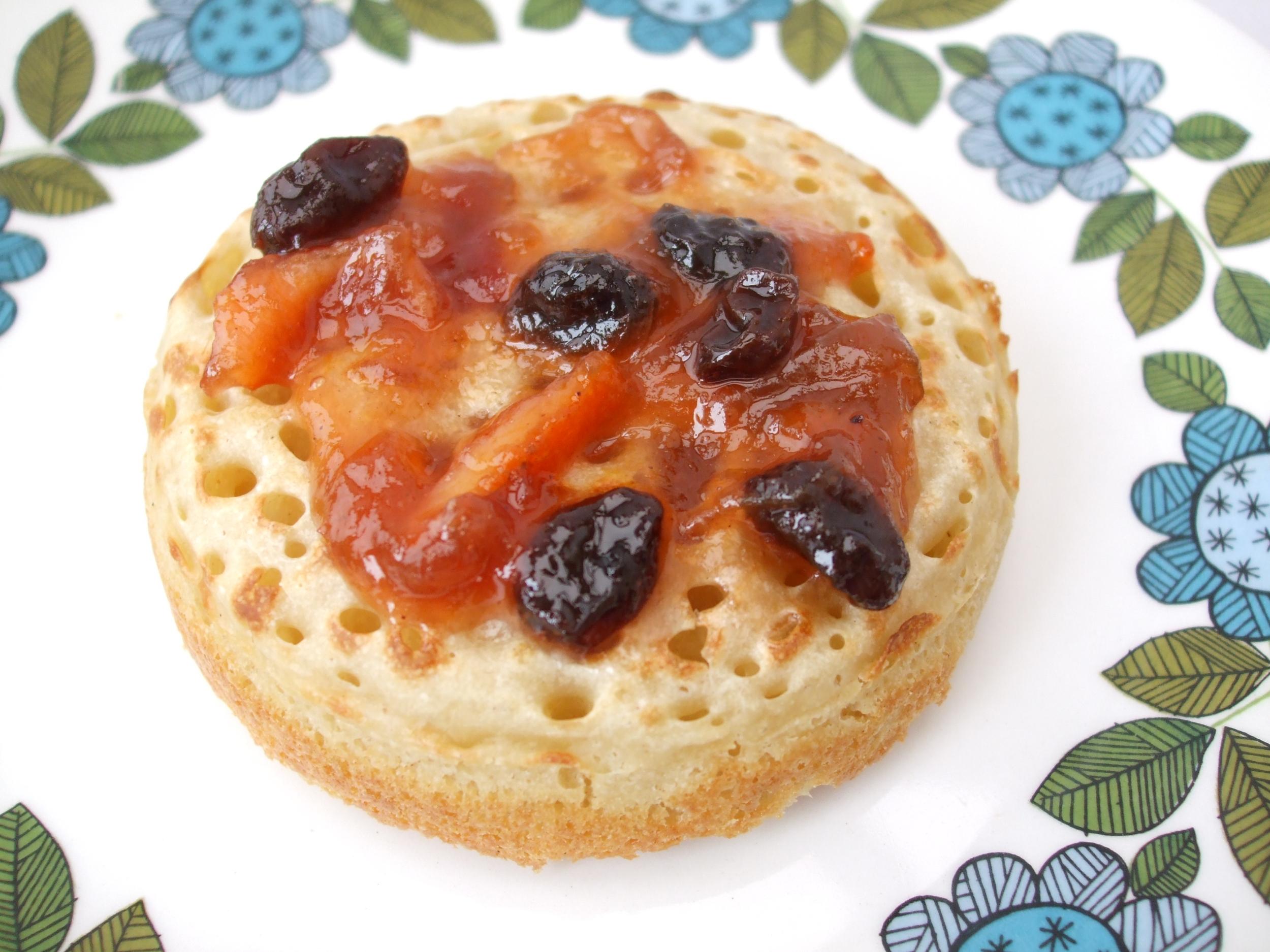 Home-made crumpet and rhubarb jam