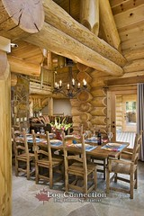 Stacked Log Home Dining Room