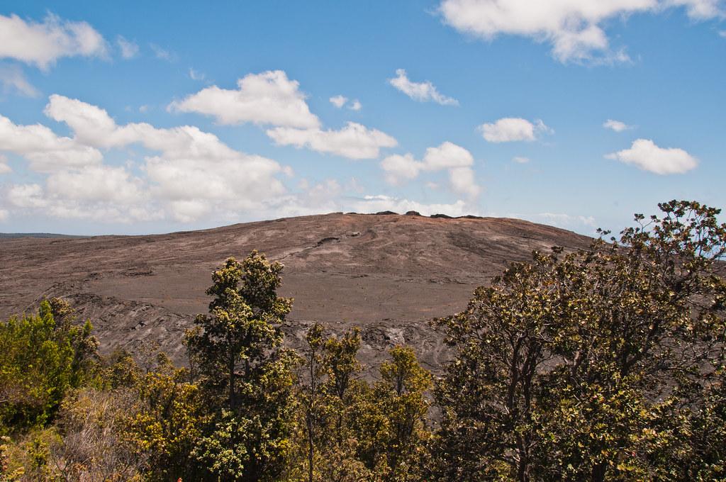 The Mauna Ulu lava shield with a perched lava pond