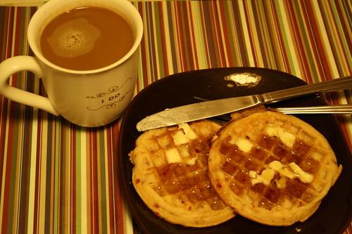 coffee, waffles