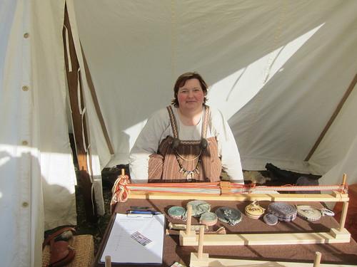 Me at my tablet weaving display