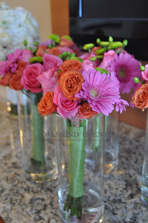 Bridesmaid bouquet pink gerbera and orange roses