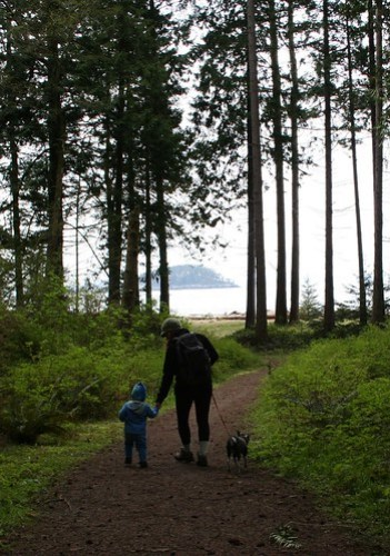 Mother and son walk