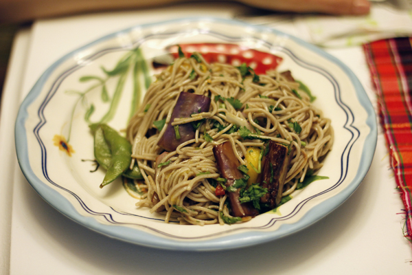 Soba Noodles With Eggplant And Mango