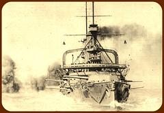 Battleship HMS Swiftsure at gunnery practice o...