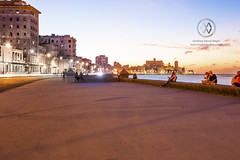 The Malecon boardwalk at sunset.