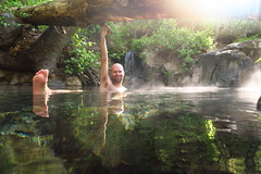 Dipping in at Jordan Hot Springs. A great way to start the day.