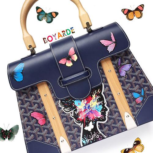 Goyard butterflies silhouette wooden handles 8