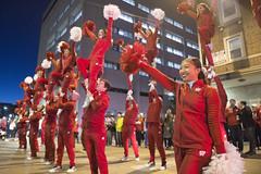 Cheerleaders perform during Homecoming Parade 2016, University of Wisconsin-Madison, November 11, 2016
