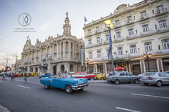 Old cars on display at Parque Central in Havana.