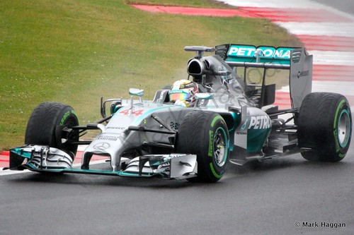 Lewis Hamilton in his Mercedes during Free Practice 3 at the 2014 British Grand Prix