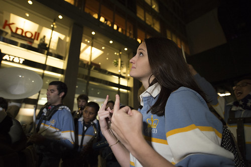 A member of the Columbia University Marching Band protesting in front of Hilton Midtown, where Donald Trump was holding a rally on election day, November 8, 2016 in New York City, USA.