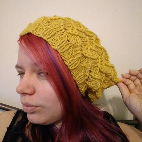 I think I just crafted the most perfect lacy, slouchy hat for Fall! What do you think?   #mystikdesigns #knitting #slouchybeanie #lace #lacework #yellow #mustardyellow #hat #accessory #giftsforher #comfy #soft #fall #fallfashion #fallaccessories #slouchyh