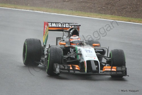 Nico Hulkenberg in his Force India during Free Practice 3 at the 2014 British Grand Prix