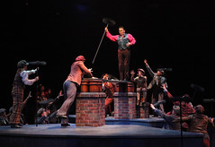 """(Center) Robert Creighton (Bert) and the Sweeps perform """"Step In Time"""" in Mary Poppins, produced by Music Circus at the Wells Fargo Pavilion July 8 - 13, 2014. Photos by Charr Crail."""