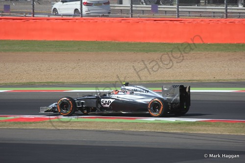 Kevin Magnussen in his McLaren during Free Practice 1 at the 2014 British Grand Prix