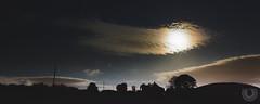 The moon shines over a farm