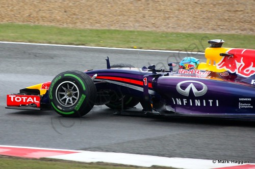 Sebastian Vettel in his Red Bull during qualifying for the 2014 British Grand Prix