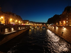 Pont Saint-Michel at night from Ile de la Cite