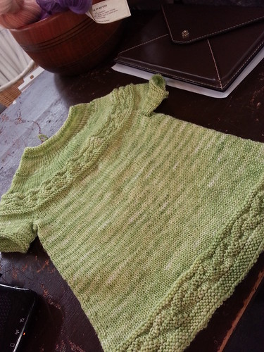small Sorrel dress in Knitting Notions Classic Merino Bboo hand dyed yarn