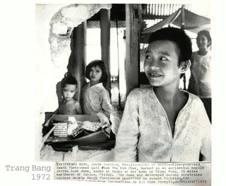 1972 - Nine-year-old Phan Thi Kim Phuc looks a...
