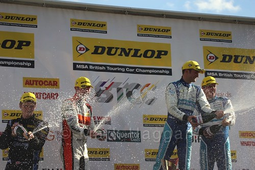 Colin Turkington, Gordon Shedden and Jason Plato on the podium during the BTCC Brands Hatch Finale Weekend October 2016