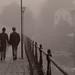 Ett promenerande par i dimman