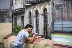 Drinking local coffee in Havana.