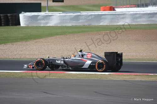 Esteban Gutierrez in his Sauber during Free Practice 1 at the 2014 British Grand Prix