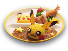 """Children's set - Pikachu curry with a side of veggies, shrimp tempura, sausages, and a Pikachu-shaped mango pudding - ¥980 • <a style=""""font-size:0.8em;"""" href=""""http://www.flickr.com/photos/66379360@N02/15114985196/"""" target=""""_blank"""">View on Flickr</a>"""