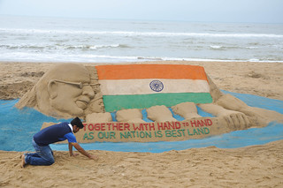 Indian reputed sand artist Sri Manas Kumar Sahoo has created a sand sculpture on the eve of 68th Independence Day on the Golden sea beach Puri, Odisha