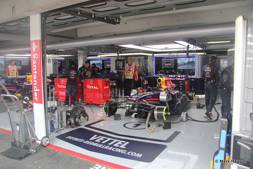 Sebastian Vettel's pit garage immediately before the 2014 German Grand Prix