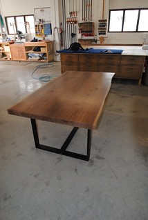 Walnut Book Matched Live Edge Table with custom iron base.
