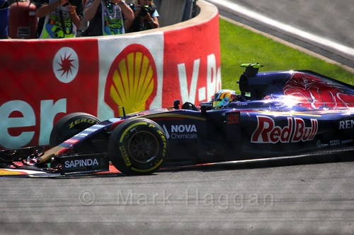 Carlos Sainz Jr qualifying for the 2015 Belgian Grand Prix