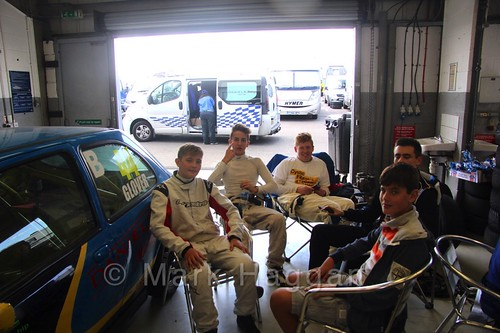 Some of the BRSCC Fiesta Junior Championship drivers in the pits ahead of the weekend's racing at Silverstone