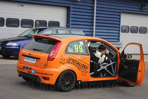 Alexander Tait gets out of his car after Race 2, Fiesta Junior Championship, Rockingham, Sept 2015