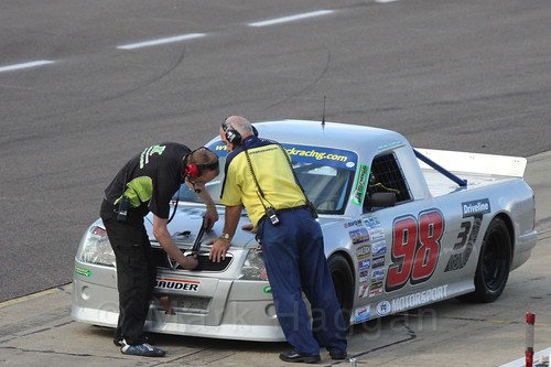 Antony Hawkins in the pits in Pick Up Truck Racing, Rockingham, Sept 2015