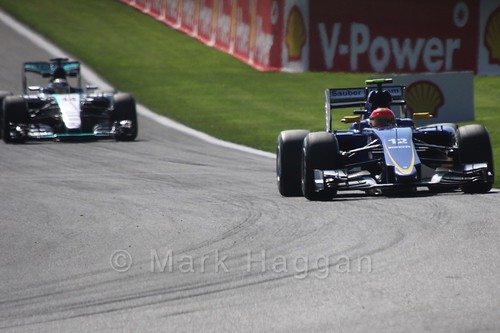 Felipe Nasr in his Sauber in Free Practice 1 for the 2015 Belgium Grand Prix