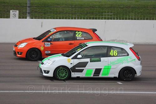 Jamie Going and Ian Wilson in Fiesta Racing at Rockingham, Sept 2015