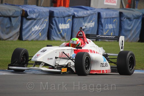 Lanan Racing's Rodrigo Fonseca in BRDC F4 Race Two at Donington Park, September 2015